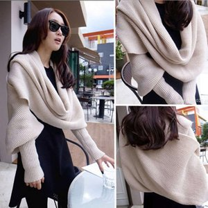 Korean autumn and winter women's knitting wool scarf super long thickened collar with sleeves solid color lengthened cashmere like warm neck