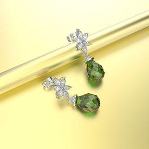 HBP new water drop shape luxury crystal earrings Korean fashion style grandmother green Tremella straight