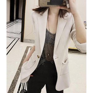 Summer Spring / 2021 Cappotto Donna Moda Single Button Solid Color Three Quarter Women's Blazer Suits Blazer