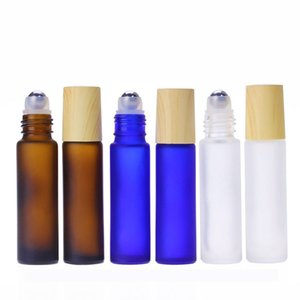 5ml 10ml Roll On Glass Bottle Thick Frosted Glass Perfume Bottle Refillable Empty Roller Essential Oils Vials Brown Blue Clear DBC BH4704