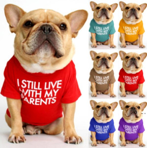 English Alphabet Solid Color T-shirt Pet Dog Clothes Small Dog T-shirt Cat T-shirt law fighting Teddy Pug clothes EWD5106