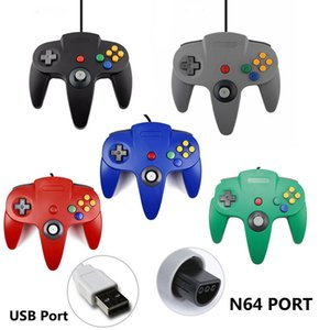 USB N64 Game Wired Controller Gamepad For Nintendo Windows PC Mac Computer Laptop Long Handle Gamecube N64 64 Style 30PCS LOT