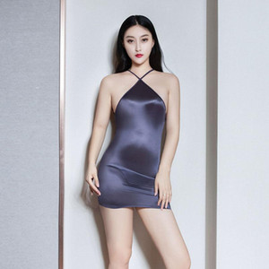 Sexy Women Strap Backless Tight Pencil Cute Dress Shiny Smooth See Through Micro Mini Dress Bandage With G-String Candy Color F1