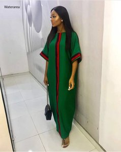 2019 nouvelle robe plus Taille Taille Femme Colous O-Colfs Hauts manches Ruban Patchwork Sexy Longueur Longueur Longue Longue Robe 210222