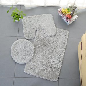 3 Piece Bathroom Anti-slip Mat Set Toilet Carpet Flannel Non-slip Shower Carpet Set Household Toilet Lid bath mat bathroom rug