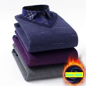 2021Plus Size 5XL 6XL 7XL 8XL Winter Men Add Wool Thick Knitting Fake Two Piece Long sleeve Sleeved Warm Shirt Man Blouse men's plaid