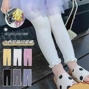Girls Leggings Kids Tights Pearl Sequin Skinny Pants Cotton Trousers Spring Summer Children Clothes Girls Clothing 2-6Y B4106