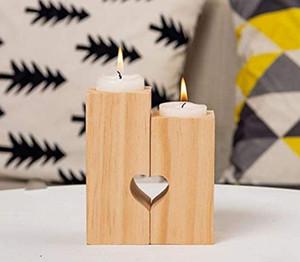 الشاي الخشبي ضوء شمعة حامل القلب مجوفة خارج الشمعدان الرومانسية الجدول الديكور للمنزل عيد حفل زفاف الديكور GWF5523