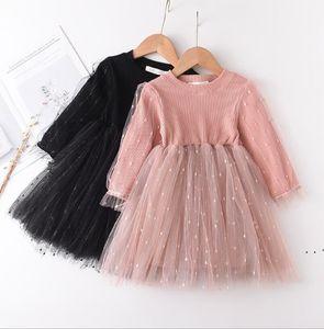 Strickprinzessin Kleid Gaze Rock Bubble Sleeve Kleid Mädchen Lange Ärmel Tüll Röcke Tutu Kinder Designer Kleidung Western Stil OWB5248