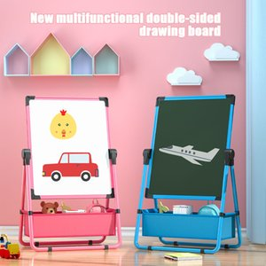 Children's double-sided writing drawing board Erasable small blackboard Bracket Magnetic dust-free whiteboard Baby doodle tools 210312