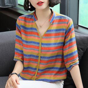 2021 spring and summer V-neck fashion striped mother's large half sleeve loose color matching base shirt