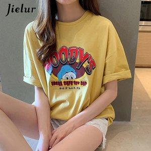 Juezur verano camiseta de manga corta Mujeres de dibujos animados de dibujos animados gris amarillo camiseta femenina BF Harajuku camisetas M-XXL Ropa mujer