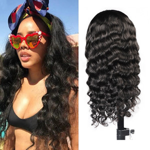 2021 Human Hair Wigs With Headbands Body Straight Water Headband Wigs Natural Color Loose Deep Curly Machine Made Non Lace Wigs head bands