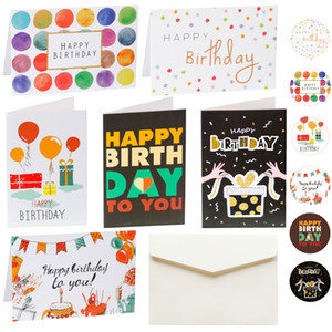 6 Sets of Happy Birthday Cards with Envelopes and Stickers Folding Cards Blank Inside Greeting Cards