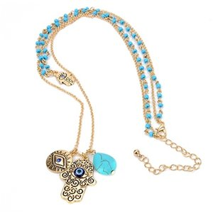 Beautiful Women Turkish Hamsa Fatima Hand Blue Evil Eye Hanger Double Layers Kralen Trui Long Chain Gifts for Her