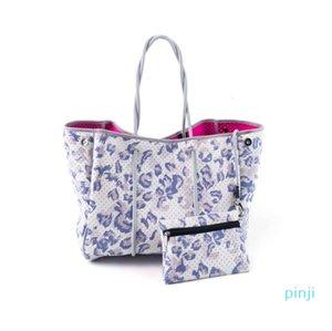 selling beach bag 2021 wholesale leopard printing neoprene tote shoulder Hands for women