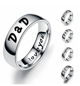 Fashion Jewelry Ring LOVE MOM DaD SON DAUGHTER Letter Ring Stainless steel Ring