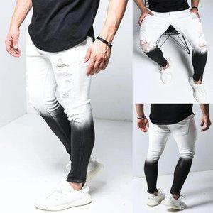 Herren Designer Skinny Hole Jeans Farbverlauf Farbe Reißverschluss Fliegen Hosen Mode Slim Long Jeans Herren Casual Kleidung