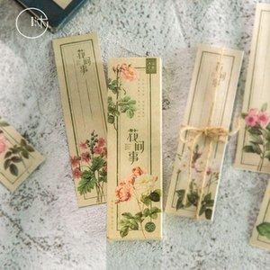 Bookmark 30 Pcs Set Retro Plant Flower Paper Cartoon Book Holder Message Card Gift Stationery