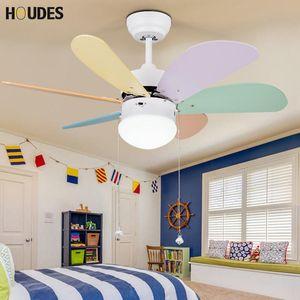 European LED ceiling fan color children fan light children cooling ceiling room bedroom baby lighting led lamps