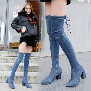 Outono 2019 New Single Denim Knee Botas Womens Slim Botas de Tema Salto Europeu e Americano Shoes Shoes Shoes Side Zip Azul L83Z #