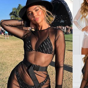 Mesh See Through Sexy Dress Womem Sundress Summer 2021 New Long Sleeve Lace Dress Party Fits Beach Bikini Cover Up