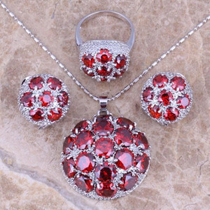Gracious Red Garnet Silver Plated Jewelry Sets Earrings Pendant Ring Size 6   7   8 9 10 11 12