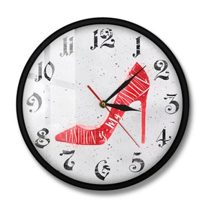 Fashion Quote Red High Heels Shoes Store Wall Clock Is My Passion Fashion Girls Room Decor High-heeled Shoes Designer Timepiece