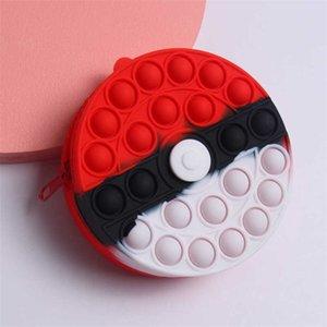 Mini ball circle purses sensory push fidget toys wallet baground silicone wallets kids christmas halloween party gifts GWB10134