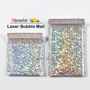 10pcs lot laser Bubble Mailer Poly Mailing Bags Shipping Envelopes with Bubble Shipping Packaging Envelope Mailers Padded