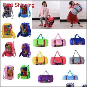 Outdoor Mesh Beach Shell Bag Pouch Tote Portable Folding Storage Bags Toys Kids Sandboxes Backpack D24H48Cm Ffa188 12Pcs Zghwu Xitfa