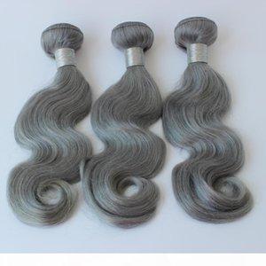 DHgate 3pcs lot Brazilian wavy Hair Bundles Grey weave 100% Human Hair Weaving body wave Grey hair weave