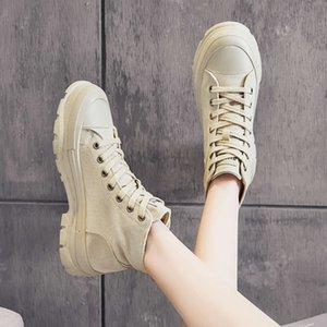 Autumn and winter 2020 new leisure fashion canvas women's Korean Trend thick sole simple solid color personalized student board shoes