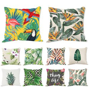 Cotten Linen Pillow Cover Plant Printed Pillowcase Square Decorative Cushion Cover for Sofa Bed Couch Room JK2103XB