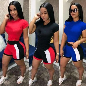 Womens Sportswear Short Sleeve Two Piece Set Woman Jogging Sportsuit For Ladies Casual Women Tracksuits Fashion Sexy T-shirt Shorts kl1011