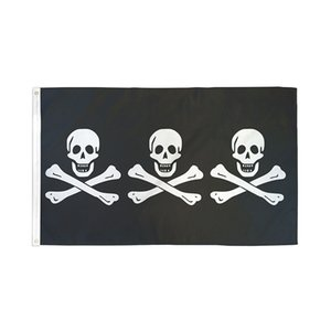 Three Pirate 3X5FT Black Flags Outdoor 150x90cm Banners 100D Polyester High Quality Vivid Color Two Brass Grommets GWD10507