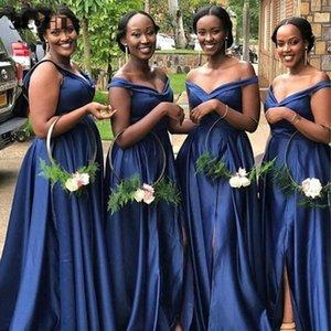 Donanma Mavi Gelinlik Modelleri Custom Made Mermaid V Boyun Düğün Gust Elbise Junior Hizmetçi Onur Abiye Balo Partisi