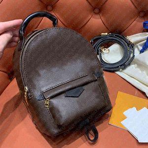 Роскошный дизайнер бренд женщин мини-рюкзак Luisvtton классические коричневые цветы буквы печати весенние рюкзаки с номером серии оригинальная коробка