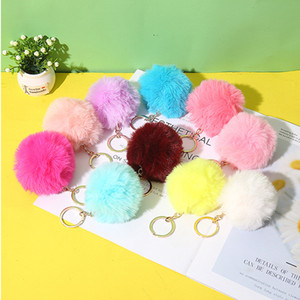 Plush Keychain Pendant Fashion Imitation Rabbit Fur Solid Color Key Chain 8CM Plush Ball Luggage Decoration Keyring Pendant
