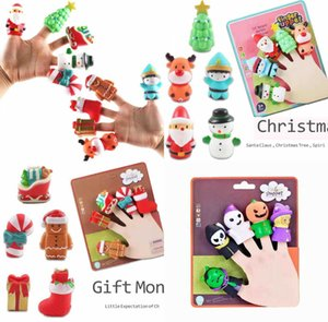 TIKTOK Kids Children Christmas Halloween Finger Puppets Set Soft Cartoon Rubber Dolls Party Favor Props Pumpkin Ghost Xmas Tree Santa Clause Desktop Toys G88QNZJ