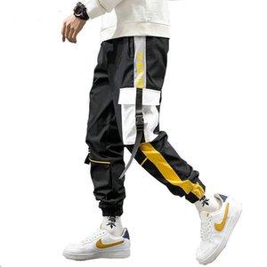 Men Black Joggers Pants 2020 Mens Big Pockets Ribbons Hiphop Cargo Pants Male Overalls Sweatpants Men Streetwear
