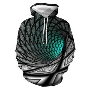 Yeni erkek 3D Renk Siyah Delik Vortex Dijital Baskı Moda Marka Kapüşonlu Kazak