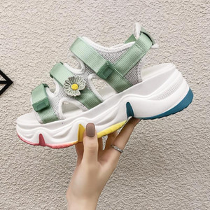 Chunky Sandals For Women Platform Casual Shoes INS Ulzzang Fashion Flower Designers Mesh Hook Loop Wedge Shoes Woman Sandal