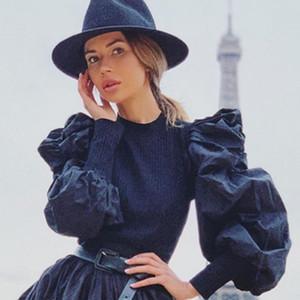 여성 블라우스 셔츠 여성 퍼프 슬리브 탑 풀오버 스웨터 블라우스 느슨한 점퍼 리브 셔츠