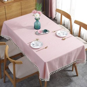 Table Cloth El Easy Clean Checkered Dinning Garden With Tassel Cotton Blend Dust Proof Anti Scratch For Party Home Decor
