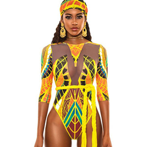 Chenchen new 2020 European totem printed one piece sexy women's mesh swimsuit