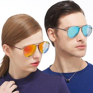 Óculos de sol homens e mulheres amantes de metal colorido quadro de metal polarizado lente de filme de alta qualidade óculos