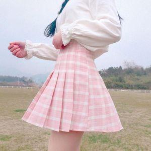 Skirts Harajuku 2021 Women Fashion Summer High Waist Pleated Skirt Wind Cosplay Plaid Kawaii Female