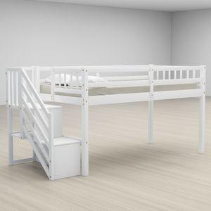 Оптовая Дизайн Мебель для спальни Двухэтажный Белый Стильный и прочный Твердый Дерево Лондона с двумя ящиками для хранения