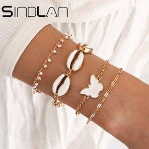 Lega di zinco 4pcs Boho Gold Metal Shell Bracelet Braccialetto Set per le donne Branelli Bianchi Farfalla femmina Geometrica Geometrica Gioielli Pulsera